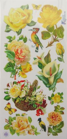 Beautiful Vintage Yellow Roses Stickers for sheets Vintage Diy, Vintage Ephemera, Vintage Yellow, Vintage Images, Victorian Flowers, Vintage Flowers, Decoupage Paper, Paper Quilling, Scrapbook Stickers