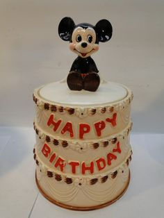 RARE VINTAGE DISNEY MICKEY MOUSE HAPPY BIRTHDAY COOKIE JAR- had htis one and broke it - not a happy person.