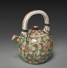 Wine Pot: Arita Ware, 1615-1868 Japan, Edo Period (1615-1868) porcelain with colored enamel decoration, Overall: h. 16.20 cm (6 3/8 inches).