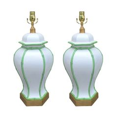 Pair of Mid C White Porcelain Lamps, Green Bamboo Detail | From a unique collection of antique and modern table lamps at http://www.1stdibs.com/furniture/lighting/table-lamps/