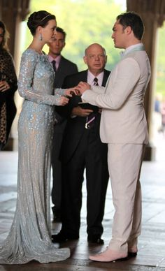 Chuck & Blair Wedding  Blair in Elie Saab dress and Chuck in Martin Greenfield custom-made tux