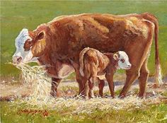 Daily Art Show - Making Hay While the Sun Shines by June Dudley by Artists of the American West Animal Paintings, Animal Drawings, Deer Skull Art, Farm Animals, Cute Animals, Hereford Cows, Cows Mooing, Farm Art, Cow Painting