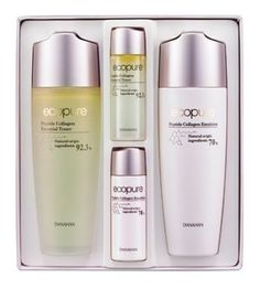 KOREAN COSMETICS, Danahan, Eco Pure Peptide Collagen Essential 2-piece set (Essential Toner 160ml + Emulsion 160ml + Essential Toner 30ml + meoljyeol 30m) (elastic, nutrition, facial lines, care)[001KR] by Danahan. $88.00. Note to the first users : If you have  not used this item before, try the cosmetic with small amount on your skin. If you find any trouble with the product, please stop using and discuss with your skin expert or doctor. If you have any allerg...