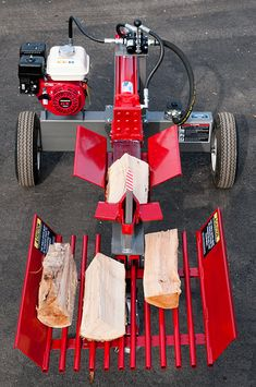 TW-1 Log Splitter Frontal View - Shown With Optional Table Grate and Four-Way Wedge