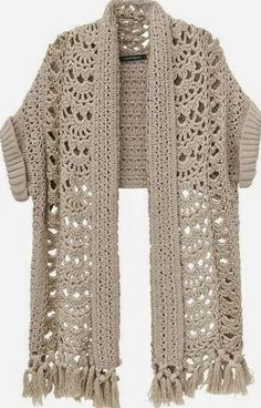 This is crochet, but I'd like to write a knitting pattern for this. Gilet Crochet, Crochet Jacket, Crochet Cardigan, Crochet Scarves, Crochet Clothes, Crochet Stitches, Knit Crochet, Crochet Shrugs, Poncho Sweater