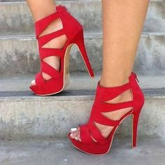 526b0416e047  79.37 Dresswe.com SUPPLIES Red Sandals Faux Suede Open Toe Stilettos.  Classy High HeelsWedge ...