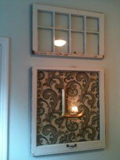 Rustic Prim Old Window Frame wall decor.