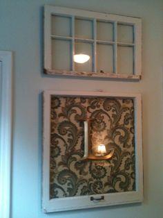 Rustic Prim Old Window Frame wall decor.