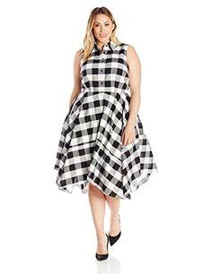 Julia Jordan Womens Plus Size Gingham Plaid Dress BlackWhiteBlack 18W ** Details can be found by clicking on the image.