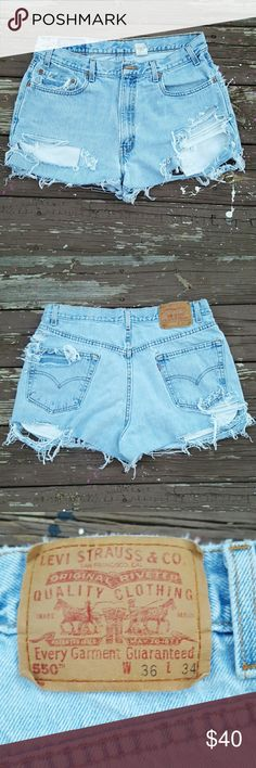 Custom Made Ripped Jean Shorts sz 10/11 Size: 32Waist..fits like 10/11..tag says 36  Vintage 100% cotton  Condition: Up-Cycled pants Levi's Shorts Jean Shorts