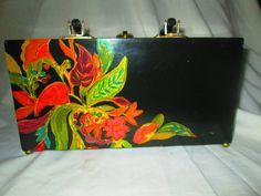 Fantastic Hand Painted Wooden Hard side box purse by HankiePanky