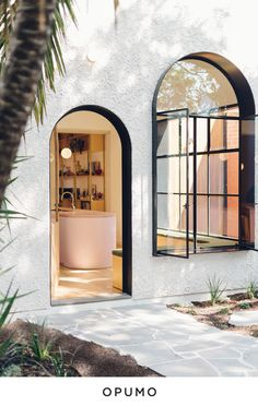 Architecture Homes Art Deco Window Ideas - This art-deco inspired house addition features black-lined deep window reveals, providing shade for the interior spaces, and adding a touch of drama to the white facade. Home Interior, Interior Architecture, Interior And Exterior, Interior Decorating, Residential Architecture, Residential Lighting, Interior Office, Unique Architecture, Decorating Kitchen