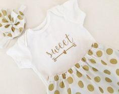 Gold Dot Baby Girl Outfit, Custom Onesie, Skirt and Headband - Edit Listing - Etsy