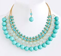 Dip-Dye Tonal Bead Row Necklace Turquoise shop www.popofchic.com