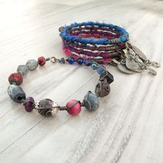 Silk Road Gypsy Bangle Stack, Mixed Berry, 5 Silk Wrapped Boho Tribal Bracelets, Set with Coin Charms