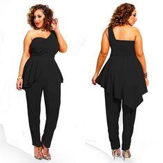 0b903da531 Rose Clubwear Wholesale Cheap Club Wear Dresses Club Clothes Black Plus size  jumpsuits One shoulder strapless chiffon casual women rompers  Plus Size ...