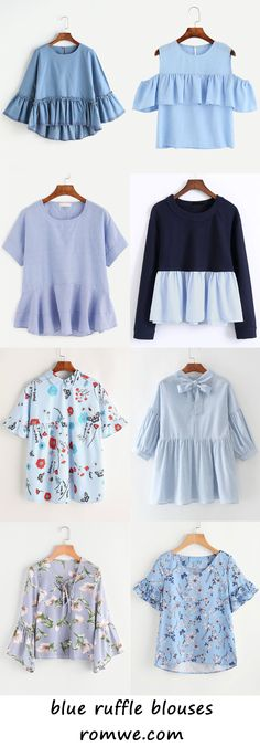 blue ruffle blouses 2017 - romwe.com Look Fashion, Hijab Fashion, Teen Fashion, Fashion Dresses, Womens Fashion, Fashion Design, Blouse Styles, Blouse Designs, Diy Clothes