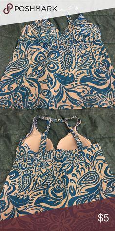 Jantzen Swim Top size 16 Blue and White Swim Top (gently worn) with built in bra Swim