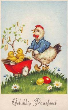 Oude ansichtkaart : Gelukkig Paasfeest, 1958