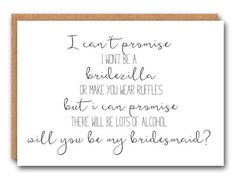 Funny Bridesmaid Card Bridesmaid Ask Card by SimplySaidPaperie