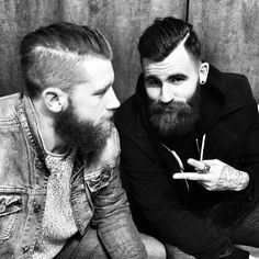 Liam Chennells and Chris Perceval - a pair of beards bearded duo man men male models mens' style fashion hairstyle hair #goodhair #beardsunited #beardsforever