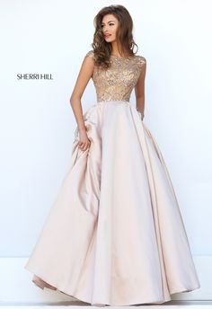 Sherri Hill 32359 Nude Ballgown Beaded Bodice Ypsilon Dresses Prom Modest Prom Sleeves Pockets Formal Formalwear