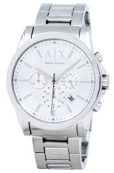 Watches For Sale buy Armani Exchange Chronograph Silver-Tone Dial Men's Watch having Stainless Steel Case, Stainless Stee Bracelet, Quartz Movement, Scratch Resistant Mineral Crystal Armani Watches, Luxury Watches, High End Watches, Watches For Men, Armani Exchange, Watch Deals, Authentic Watches, Omega Constellation, Popular Watches