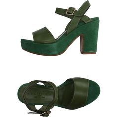 Fiorina Sandals ($145) ❤ liked on Polyvore featuring shoes, sandals, green, leather shoes, animal shoes, round cap, real leather shoes and green shoes