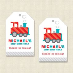 Little Train Party Favor Hang Tags Personalized by paperspice