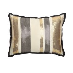 JAZZ THINGS UP WITH OUR SEQUIN THROW PILLOWS Selina's varying widths of sparkling bands define modern luxe. With mini sequins in gold and Onyx striped across a Vanilla silk satin face, this shining star offers a classy way to add a little bling to our sequin throw pillows. Reverses to solid Onyx silk satin.