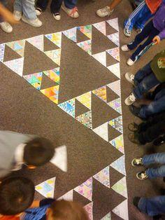 """k fraktálům"" Sierpinski Triangle  http://fractalfoundation.org/fractivities/FractalTriangles.pdf"