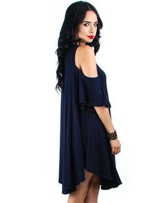 515bdfc0cca1cf All About The Bass Open Shoulder Tunic Dress: Navy Swing Dress, Bass, Cold