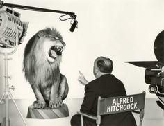 Director, Alfred Hitchcock with MGM Lion