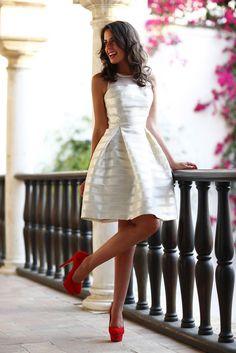 shiny little white dress