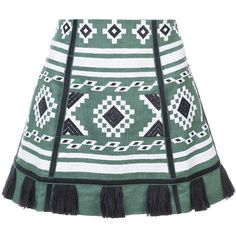 Vita Kin ethnic tassel skirt (€1.240) ❤ liked on Polyvore featuring skirts, green, linen skirt, vita kin, tassel skirt and green skirt