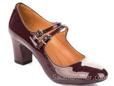 Hotiç Ayakkabı Modelleri Bordo Topuklu Rugan Çift Tokalı