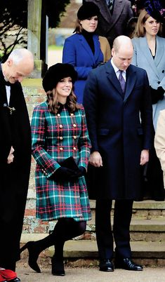 December 25, 2017 ~ Catherine, Duchess of Cambridge and Prince William, Duke of Cambridge curtsy and bow respectively as HM Queen Elizabeth II arrives at St. Mary Magdalene Church for Christmas Day services.
