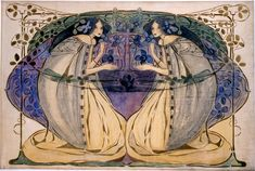 Spring, by Frances MacDonald, ca.1903-05 (signed and dated 1907). Watercolour on linen; 83 x 124 cm | Hunterian Museum and Art Gallery, University of Glasgow