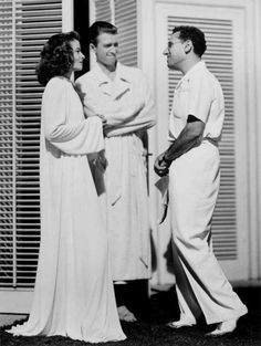 "Katharine Hepburn, James Stewart and George Cukor on the set of ""The Philadelphia Story,"" 1940"