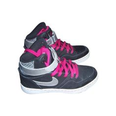 Pre-owned Nike Trainers ($78) ❤ liked on Polyvore featuring shoes, sneakers, pre owned shoes, high top shoes, nike, hi tops and nike shoes