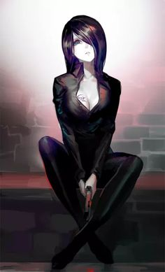 Anime picture 608x1000 with   original  luen kulo  single  tall image  short hair  looking at viewer  breasts  fringe  sitting  holding  signed  cleavage  aqua eyes  parted lips  hair over one eye  tattoo  head tilt  crossed legs  dark hair  brick wall