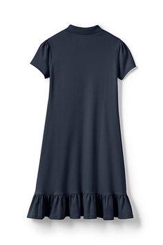 School Uniform Girls Short Sleeve Ruffle Hem Dress