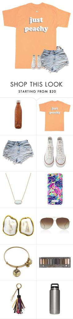 """just peachy"" by hailstails ❤ liked on Polyvore featuring S'well, Just Peachy, Converse, Kendra Scott, Lilly Pulitzer, Tiffany & Co., Dita, Alex and Ani, Urban Decay and Yves Saint Laurent"