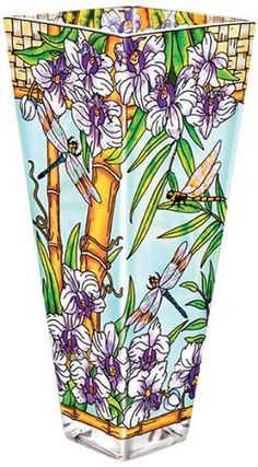 Amia Glass Vase with a Colorful, Hand-Painted Design Featuring Dragonflies in a Bamboo Setting, 13-Inches Tall by Amia, http://www.amazon.com/dp/B005PR1OLC/ref=cm_sw_r_pi_dp_qaN4qb0R0BTFV