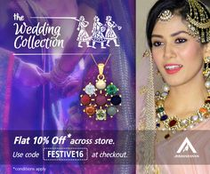 Though not a typical celebrity, nonetheless Mira Rajput looked stunning in her Navratna necklace on her wedding day. You can get the look too with our Navratna Pendant. Also,get flat 10% off across store. Use code FESTIVE16 at checkout. Explore here http://aabhushanam.in/collections/pendants/products/ap-145-ap-145 [Disclaimer: The celebrity is in no way associated with Aabhushanam. Her image is used only for reference.]