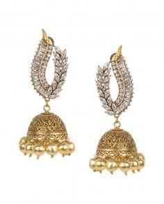 Jhumka Earrings with Crystals by Anjali Jain Shop Now: http://bit.ly/anjalijainei #Gold #Earrings #Multicolour #Ethnic #Bling #India #Fashion #Jewelry #Indian #Designer #Jewellery #Multicolor #Desi #Stones #Kundan #Beads #Meenakari #Jhumka #Pearl #Traditional #Golden #Floral #Necklace #Haathphool #MaangTikka