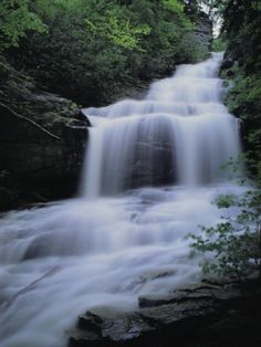 Upper Cascades Falls Flows Down a Mountain in Hanging Rock State Park