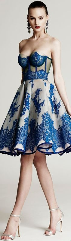Cristina Savulescu ~ Strapless Cocktail Dress w Blue Embroidery 2015