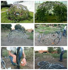 Instructables website shows us how to MAKE this very useful project made from upcycled bike wheels zip-tied together into a dome.…