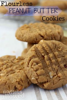 Flourless Peanut Butter Cookies are healthy and delicious! by www.nodietsallowed.com on www.whatscookinwithruthie.com #recipes #healthy #cookies